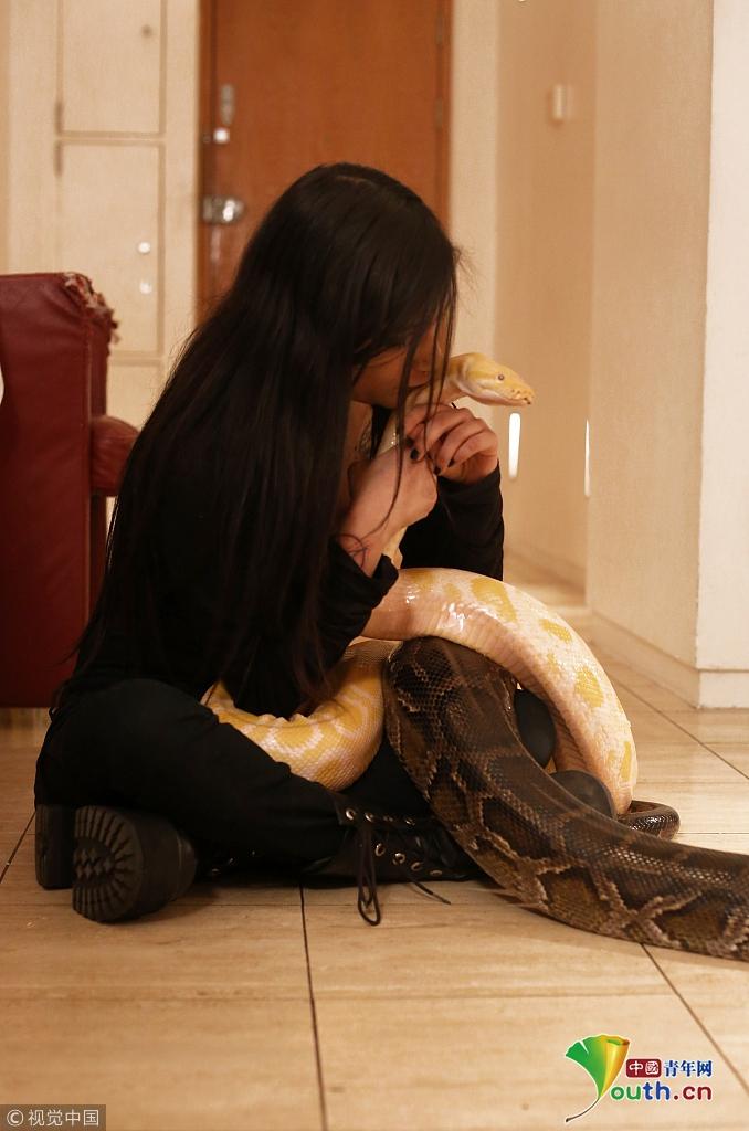 """英国""""重口味""""女子与5米巨蟒同居 公寓共有16条蛇"""
