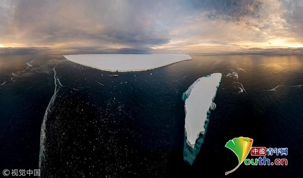 航拍南极巨型冰山似外星奇景 尽显宁静冷冽之美