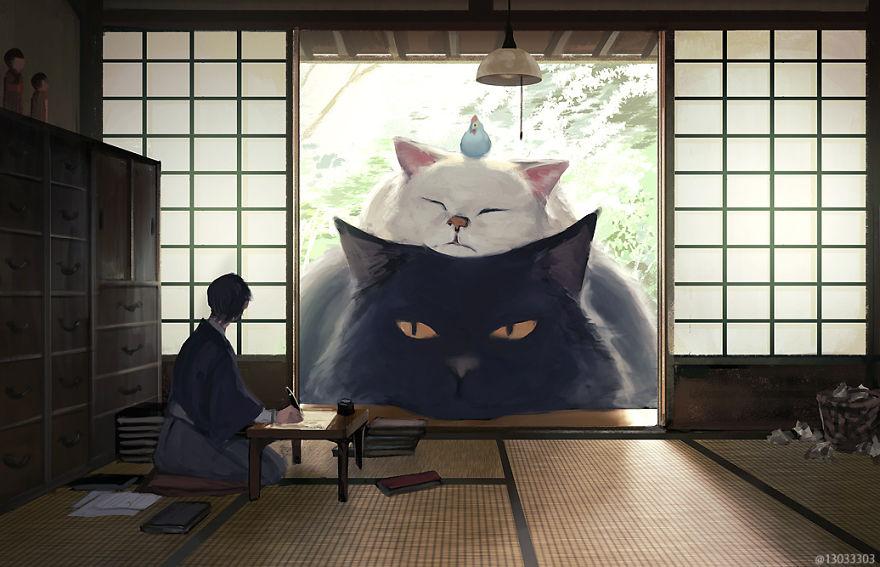 日本艺术家画放大版动物插图 动物大小同三层楼建筑