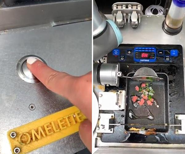新加坡酒店一机器人厨师为顾客制作金黄煎蛋卷