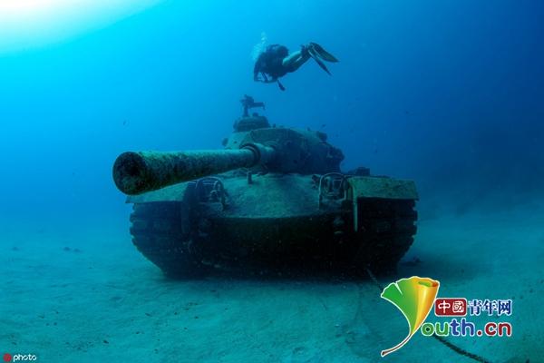 """报废坦克沉土耳其海底变""""礁石"""" 成潜水者打卡圣地"""