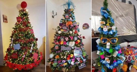 英国女子用圣诞树庆祝不同节日 装饰不一样的主题风格