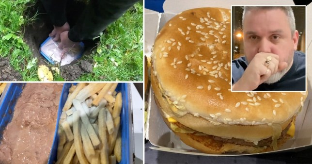 英国男子把汉堡埋在花园里 14个月后吃掉