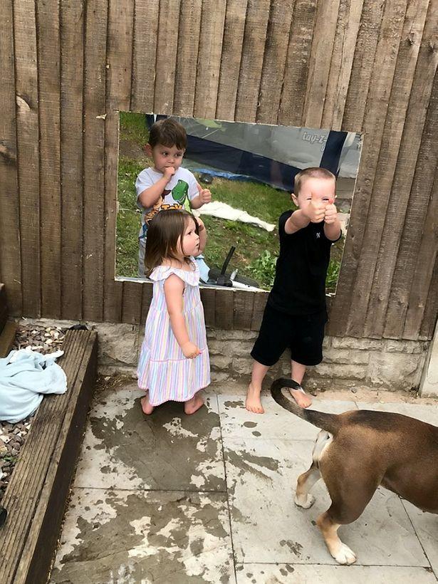 为缓解隔离期孩子的寂寞 英国妈妈在围栏上镶了玻璃