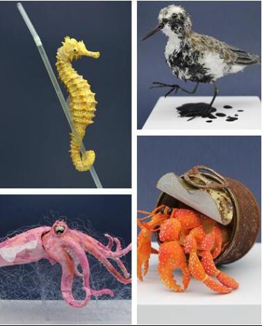 国外艺术家创作动物雕塑展示海洋污染带来的后果